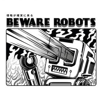 Méfiez-vous des robots illustration en noir et blanc