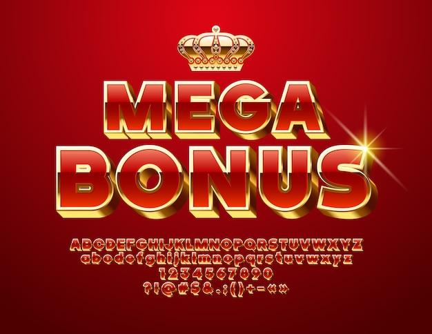 Méga bonus. police 3d chic. lettres, chiffres et symboles de l'alphabet rouge et doré de luxe