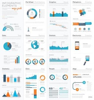 Mega colletion d'éléments infographiques vectoriels d'affaires