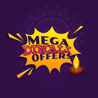 Mega diwali festival offre vente bannière design vectoriel