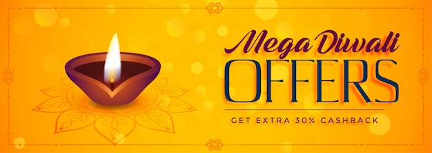 Mega diwali offre la bannière du festival de vente