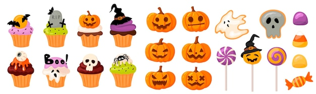 Méga ensemble de bonbons et citrouilles d'halloween cupcakes et muffins citrouilles aux visages coupés