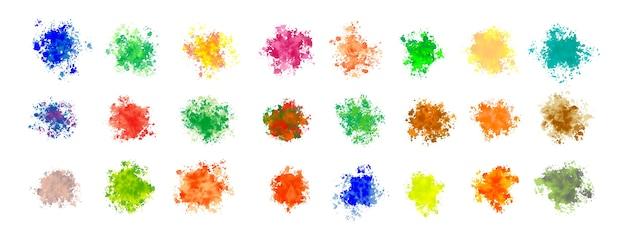 Mega ensemble d'éclaboussures d'aquarelle dans de nombreuses couleurs