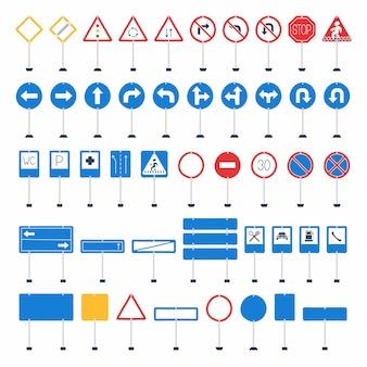 Méga ensemble de panneaux de signalisation de dessin animé de vecteur