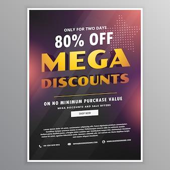 Mega modèle de conception remises en vente flyer avec détails de l'offre