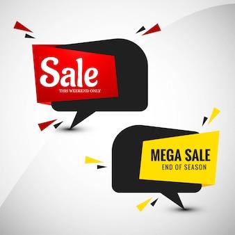 Mega sale banner set design coloré