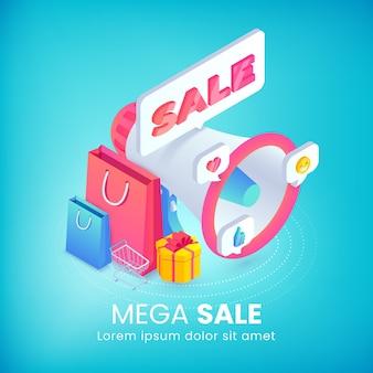 Mega sale bannière publicitaire isométrique 3d mégaphone promotion vente sacs à provisions icône des médias sociaux