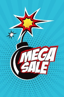 Mega sale vector design with comic speech bubble in pop art style