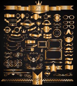 Mega set d'étiquettes vintage golden pour votre hipster