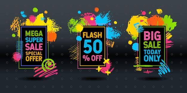 Mega super big flash vente coup de pinceau cadre abstrait dynamique craie tableau noir graphiques éléments colorés design entreprise