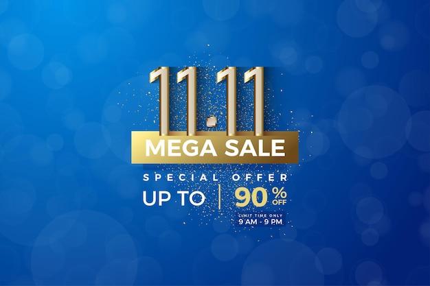 Méga vente à 1111 vente avec bordure et plaque or