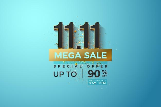 Méga vente à 1111 vente en fond bleu clair et plaqué or