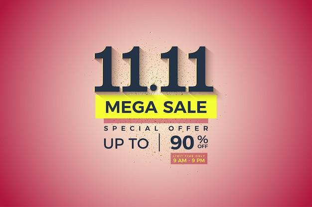 Méga vente à 1111 vente avec fond dégradé clair