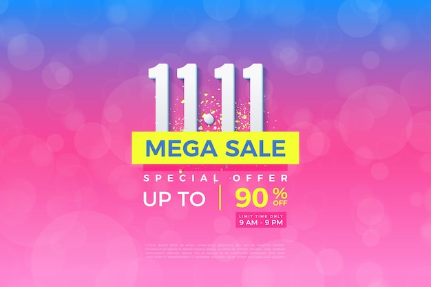 Méga vente à 1111 vente avec fond gradué