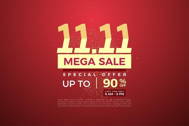 Méga vente à 1111 vente avec numéros gradués