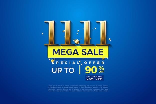 Méga vente à 1111 vente avec numéros d'or sur fond bleu