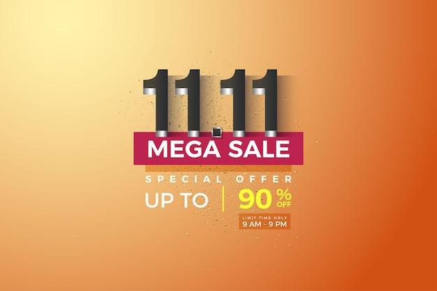 Méga vente à 1111 vente avec revêtement en chiffres argentés