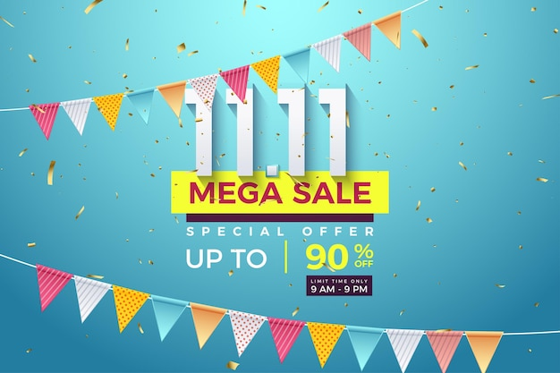 Méga vente à 1111 ventes avec des chiffres au milieu d'une rangée de drapeaux