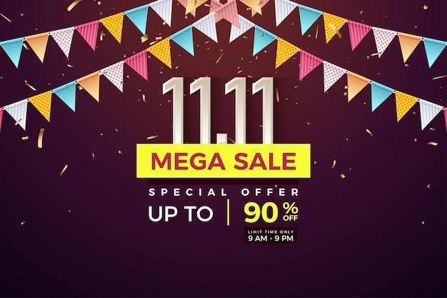 Méga vente à 1111 ventes avec des chiffres sous des drapeaux colorés