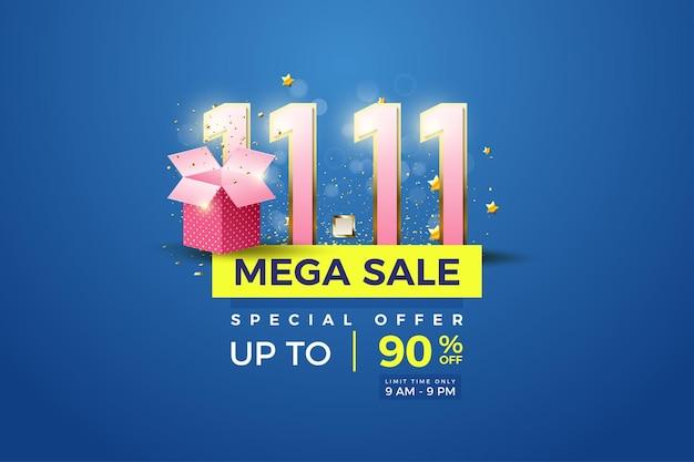 Méga vente au 1111 avec chiffres et illustration de la boîte cadeau