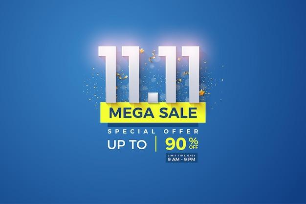 Méga vente au 1111 avec des chiffres lumineux