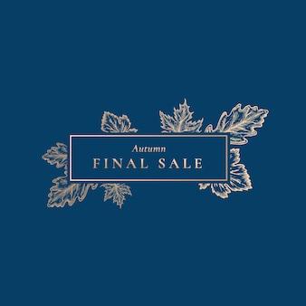 Méga vente d'automne. abstrait rétro étiquette, signe ou modèle de carte.
