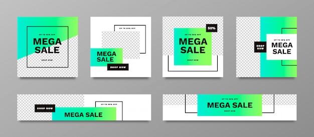 Mega vente bannière collection définie avec des couleurs vibrantes