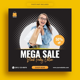 Mega vente édition du vendredi noir sur les médias sociaux instagram modèle de bannière publicitaire