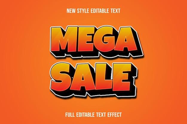 Méga vente d'effet de texte sur dégradé orange et noir
