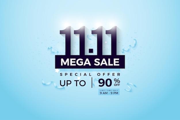 Mega vente avec numéro lumineux sur la vente 1111