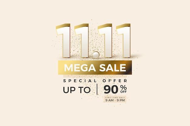 Mega vente et spécial avec numéro et couche d'or