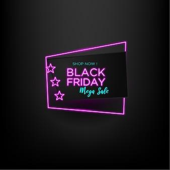 Méga vente vendredi noir avec conception de bannière effet néon