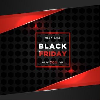 Méga vente vendredi noir avec conception de bannière de style métallique