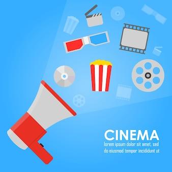 Mégaphone d'annonce, bannière plate de promotion de cinéma vectoriel