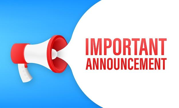 Mégaphone avec annonce importante. bannière mégaphone. création de sites web. illustration vectorielle de stock.