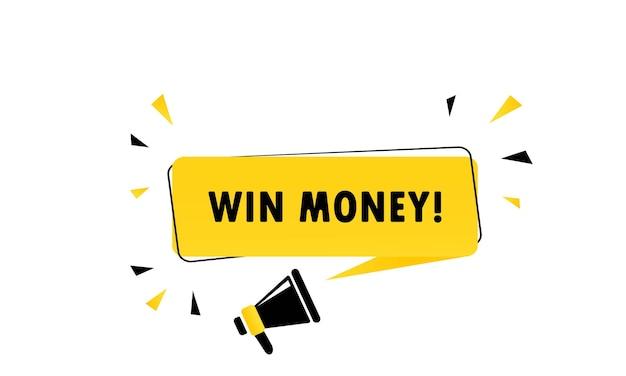 Mégaphone avec bannière de bulle de dialogue gagner de l'argent. haut-parleur. peut être utilisé pour les affaires, le marketing et la publicité. vecteur eps 10. isolé sur fond blanc.