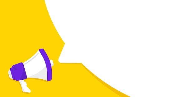 Mégaphone avec bannière de bulle de dialogue haut-parleur peut être utilisé pour les affaires et la publicité