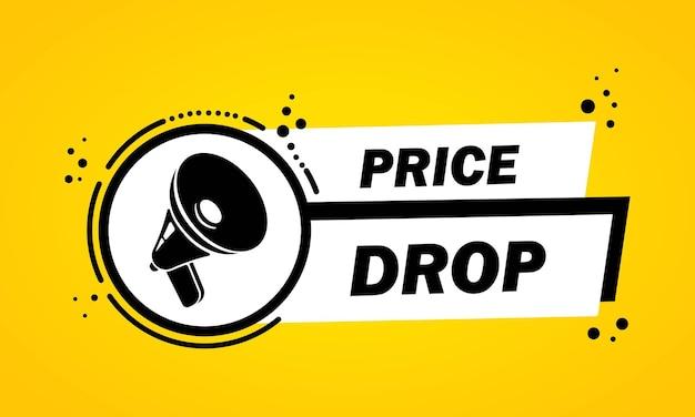 Mégaphone avec bannière de bulle de discours de baisse de prix. haut-parleur. label pour les affaires, le marketing et la publicité. vecteur sur fond isolé. eps 10.