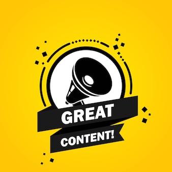 Mégaphone avec bannière de bulle de discours de grand contenu. haut-parleur. label pour les affaires, le marketing et la publicité. vecteur sur fond isolé. eps 10.