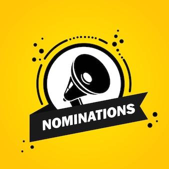 Mégaphone avec bannière de bulle de discours de nominations. haut-parleur. label pour les affaires, le marketing et la publicité. vecteur sur fond isolé. eps 10.