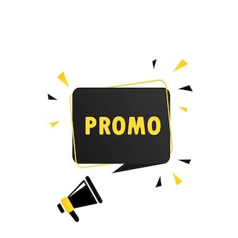 Mégaphone avec bannière de bulle de discours promo. haut-parleur. peut être utilisé pour les affaires, le marketing et la publicité. vecteur eps 10. isolé sur fond blanc.