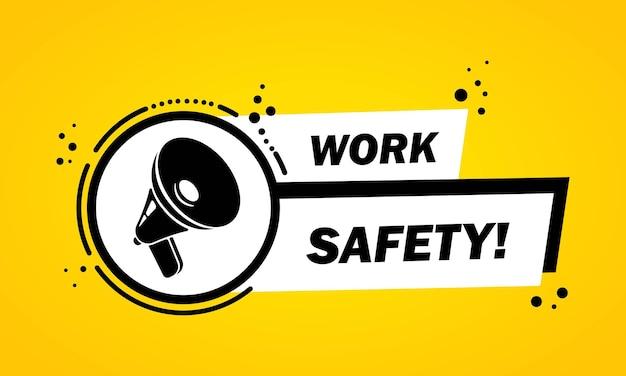 Mégaphone avec bannière de bulle de discours de sécurité au travail. haut-parleur. label pour les affaires, le marketing et la publicité. vecteur sur fond isolé. eps 10.