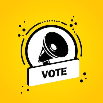 Mégaphone avec bannière de bulle de discours de vote. haut-parleur. label pour les affaires, le marketing et la publicité. vecteur sur fond isolé. eps 10.