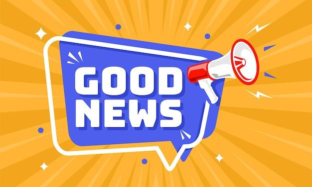 Mégaphone avec bulle de dialogue et annonce de bonnes nouvelles