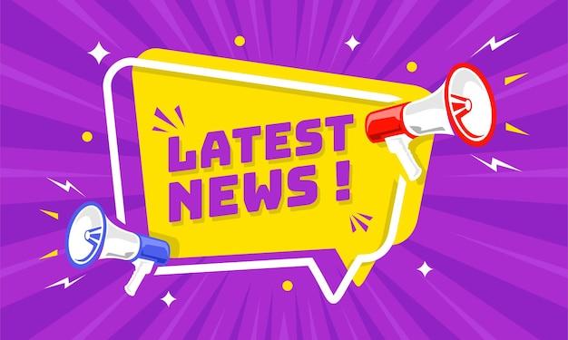 Mégaphone avec bulle de dialogue et annonce des dernières nouvelles