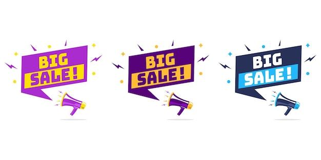 Mégaphone avec bulle de dialogue et annonce de grande vente