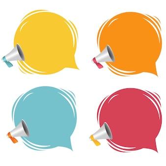 Mégaphone avec bulle de dialogue isolé sur fond blanc avec filet de dégradé