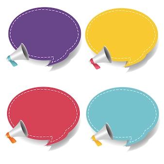 Mégaphone avec bulle de dialogue isolé sur fond blanc serti de filet de dégradé