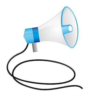 Mégaphone avec câble isolé sur fond blanc vecteur