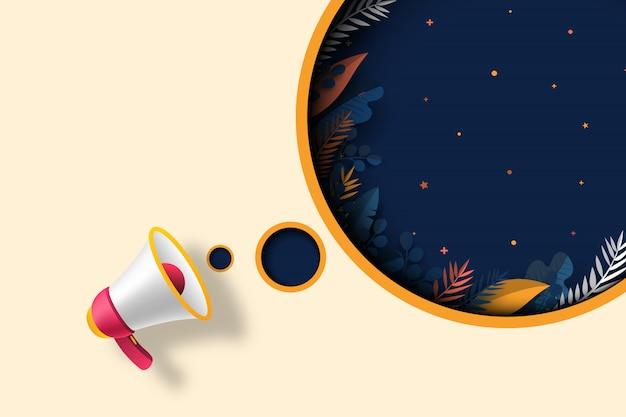Mégaphone avec discours de bulle bleu foncé du modèle de vente inauguration.